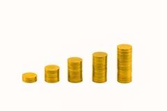 Stapel von goldenen Münzen und von Diagramm Stockfotos