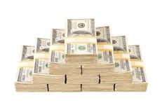 Stapel von hundert Dollarscheinen getrennt Stockbild