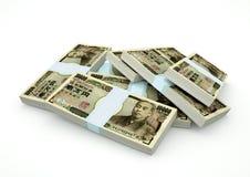 Stapel von Japan-Geld lokalisiert auf weißem Hintergrund Stockfotos