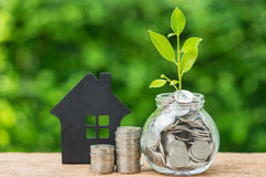Stapel von Münzen und von Glas mit voll Münzen mit Wachstumssprösslingswinkel des leistungshebels Lizenzfreie Stockfotos