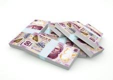 Stapel von Mexiko-Geld lokalisiert auf weißem Hintergrund stock abbildung