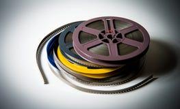 Stapel von 8mm Spulen Films super8 mit Farbeffekt Lizenzfreies Stockfoto