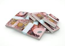 Stapel von Neuseeland-Geld lokalisiert auf weißem Hintergrund Stockbild