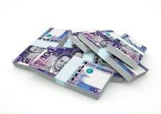 Stapel von Philippinen-Geld lokalisiert auf weißem Hintergrund Stockfotos