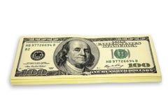 Stapel von $100 Rechnungen Stockbild