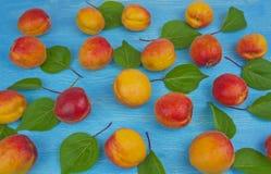 Stapel von reifen roten Aprikosen auf dem Holztisch; ländlicher Weinlesebetrug Stockbilder