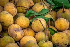 Stapel von Santol-Früchten in Thailand Stockbild