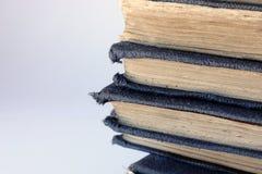 Stapel von schäbigen alten blauen Büchern Stockbilder