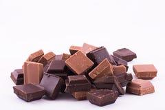 Stapel von Schokoladenstücken Lizenzfreies Stockfoto
