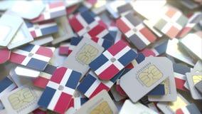 Stapel von SIM-Karten mit Flagge der Dominikanischen Republik Dominicana bewegliche Telekommunikation bezog sich Begriffs-3D vektor abbildung