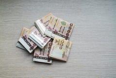 Stapel von tausend thailändischem Geld des Bades stockfotografie