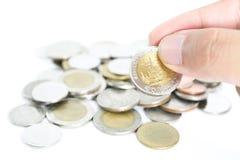 Stapel von thailändischen Badmünzen Stockbild