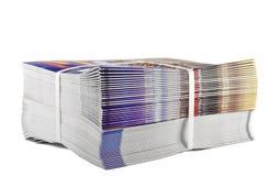 Stapel von zusammengerollten Zeitschriften Stockfoto