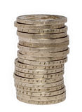 Stapel von zwei Euromünzen Stockfotos