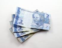 Stapel von zwei wirklich u. von x28; reais& x29; Brasilianische Banknoten Lizenzfreie Stockbilder