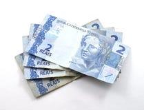 Stapel von zwei wirklich u. von x28; reais& x29; Brasilianische Banknoten Stockbild