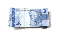 Stapel von zwei wirklich u. von x28; reais& x29; Brasilianische Banknoten Lizenzfreies Stockfoto