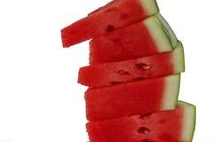 Stapel watermeloenplakken op geïsoleerd wit Royalty-vrije Stock Afbeelding