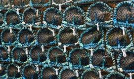 Stapel zeekreeftpotten Stock Foto