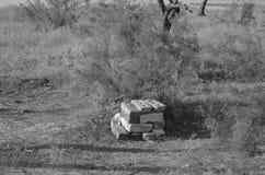 Stapel Ziegelsteine nahe bei einer Baustelle lizenzfreie stockfotos
