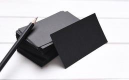 Stapel zwarte adreskaartjes Stock Fotografie