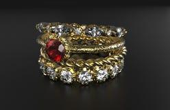 Stapelbarer Ring Mixes Gemstone lizenzfreies stockfoto
