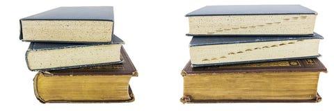 Stapelbezugsgeschichte lokalisierte Collage der alten Bücher Lizenzfreies Stockbild