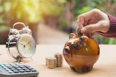 Stapeln Sie Münze mit Handtropfen die Münze in Sparschwein finanziell Stockbild