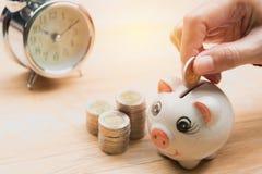 Stapeln Sie Münze mit Handtropfen die Münze in Sparschwein finanziell Stockfotos