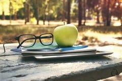 Stapeln Sie Notizbuch, Apfel und Gläser auf Bank in einem Park Stockbild