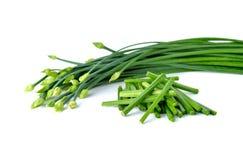 Stapeln Sie Schnittlauche blühen oder chinesischer Schnittlauch auf Weiß Stockfoto