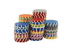 Stapels casinospaanders op een witte achtergrond Stock Foto
