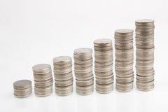 Stapels geïsoleerdeg muntstukken Royalty-vrije Stock Afbeeldingen