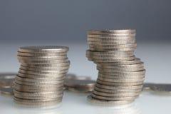 Stapels geldmuntstukken royalty-vrije stock foto's