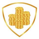 Stapels gouden muntstukken 2 stock illustratie