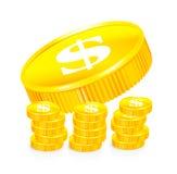 Stapels gouden muntstukken Stock Afbeelding