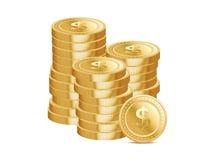 Stapels gouden muntstukken en dollartekens Stock Afbeeldingen