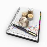 Stapels muntstukken van de V.S. voor financiën en bankwezen Stock Foto's