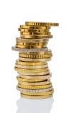 Stapels muntstukken voor witte achtergrond Royalty-vrije Stock Afbeelding