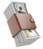 Stapels nieuwe honderd dollarsbankbiljetten Stock Foto's