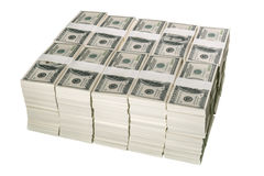 Stapels van één miljoen Amerikaanse dollars in honderd dollarsbankbiljetten Stock Foto's