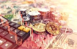 Stapels van Bitcoin, andere cryptocurrencies en een calculator Prijzen en belastingen op cryptocurrencyinvesteringen 3D rendering royalty-vrije illustratie