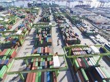 Stapels van containersterminal op 10 juli, 2017 in Kaohsiung-haven Stock Afbeeldingen
