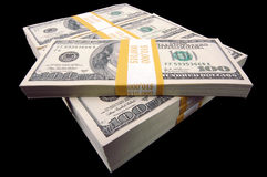 Stapels van de Rekeningen van Honderd Dollars royalty-vrije stock fotografie