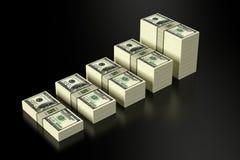 Stapels van 100 Dollarsbankbiljetten Royalty-vrije Illustratie