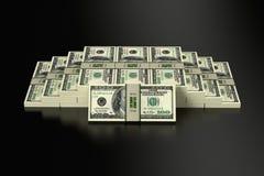 Stapels van 100 Dollarsbankbiljetten Stock Foto
