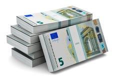 Stapels van 5 Euro bankbiljetten Stock Illustratie