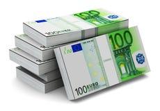 Stapels van 100 Euro bankbiljetten Stock Afbeelding