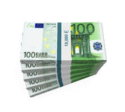 Stapels van 100 Euro bankbiljetten Royalty-vrije Stock Foto's