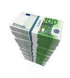 Stapels van 100 Euro bankbiljetten Royalty-vrije Stock Afbeeldingen